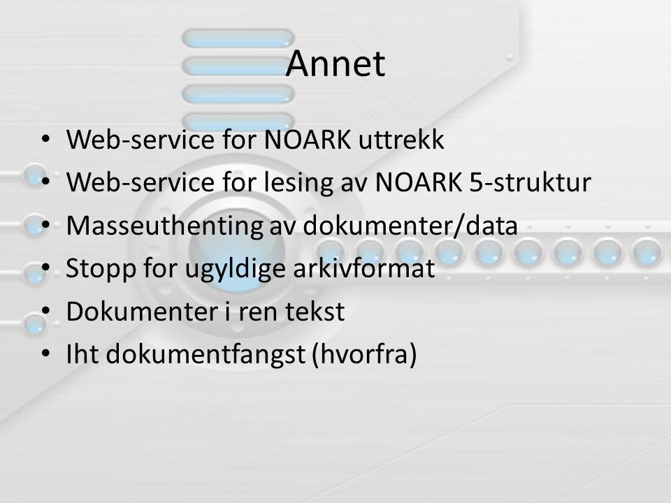 Annet Web-service for NOARK uttrekk