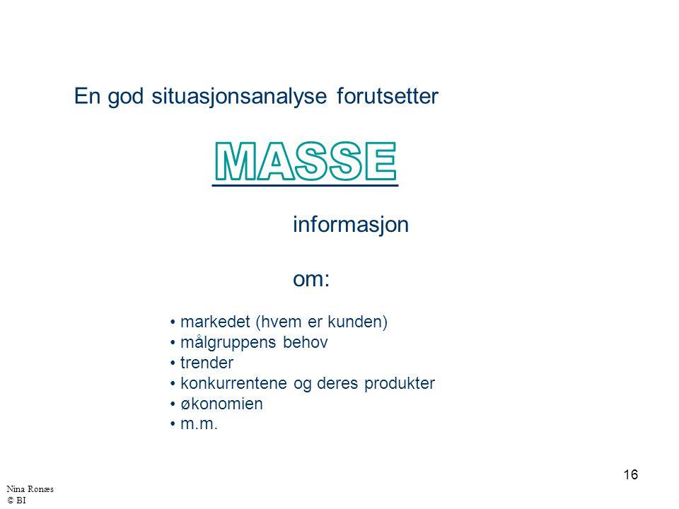 MASSE En god situasjonsanalyse forutsetter informasjon om: