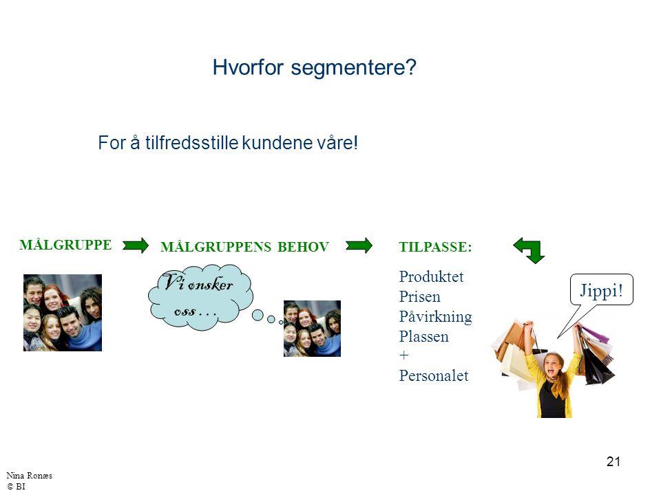 Hvorfor segmentere Vi ønsker oss … For å tilfredsstille kundene våre!