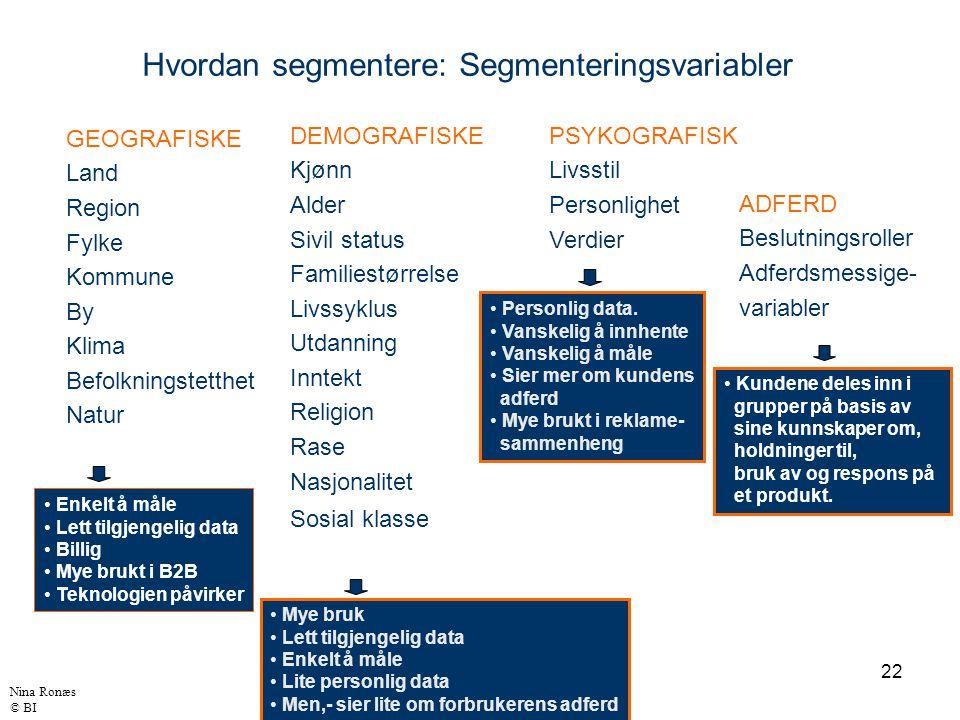 Hvordan segmentere: Segmenteringsvariabler
