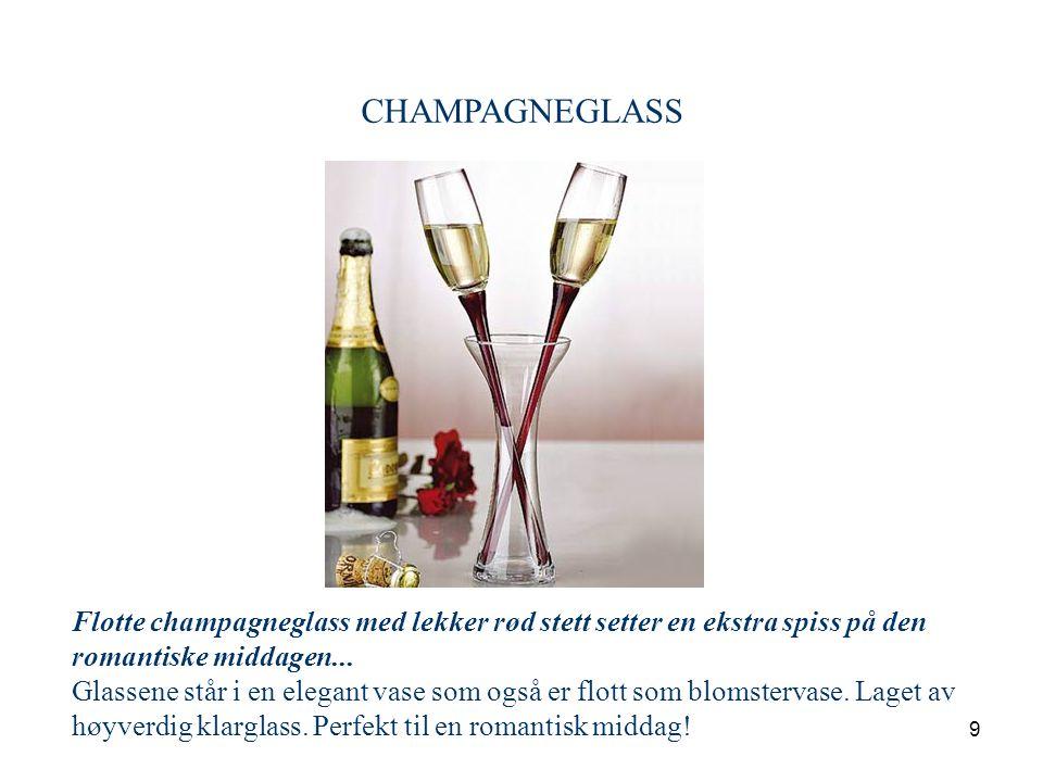 CHAMPAGNEGLASS Flotte champagneglass med lekker rød stett setter en ekstra spiss på den.