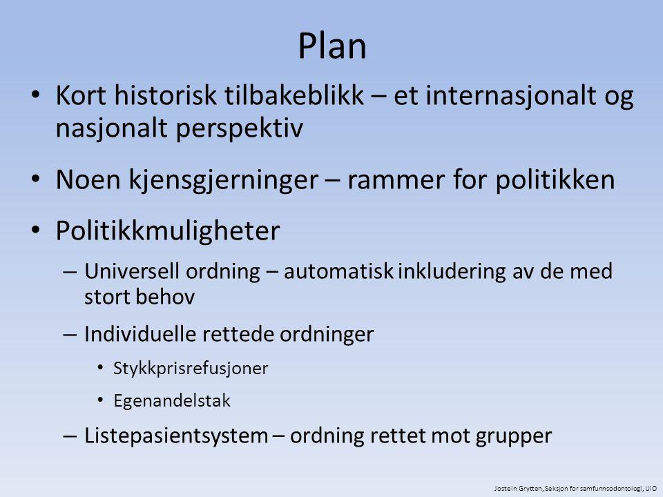 Plan Kort historisk tilbakeblikk – et internasjonalt og nasjonalt perspektiv. Noen kjensgjerninger – rammer for politikken.