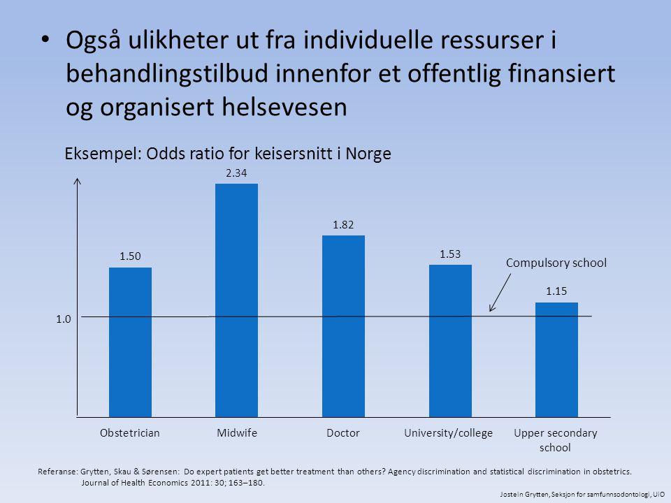 Også ulikheter ut fra individuelle ressurser i behandlingstilbud innenfor et offentlig finansiert og organisert helsevesen
