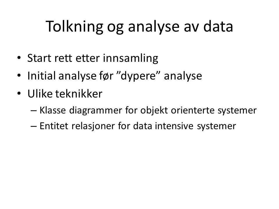 Tolkning og analyse av data