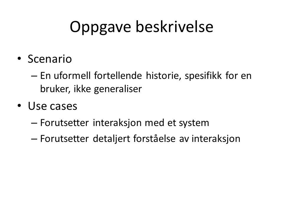 Oppgave beskrivelse Scenario Use cases