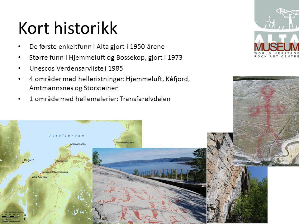 Kort historikk De første enkeltfunn i Alta gjort i 1950-årene