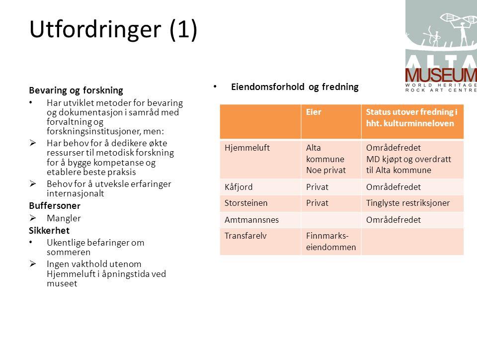 Utfordringer (1) Eiendomsforhold og fredning Bevaring og forskning