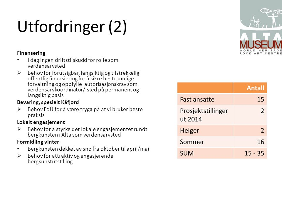 Utfordringer (2) Finansering