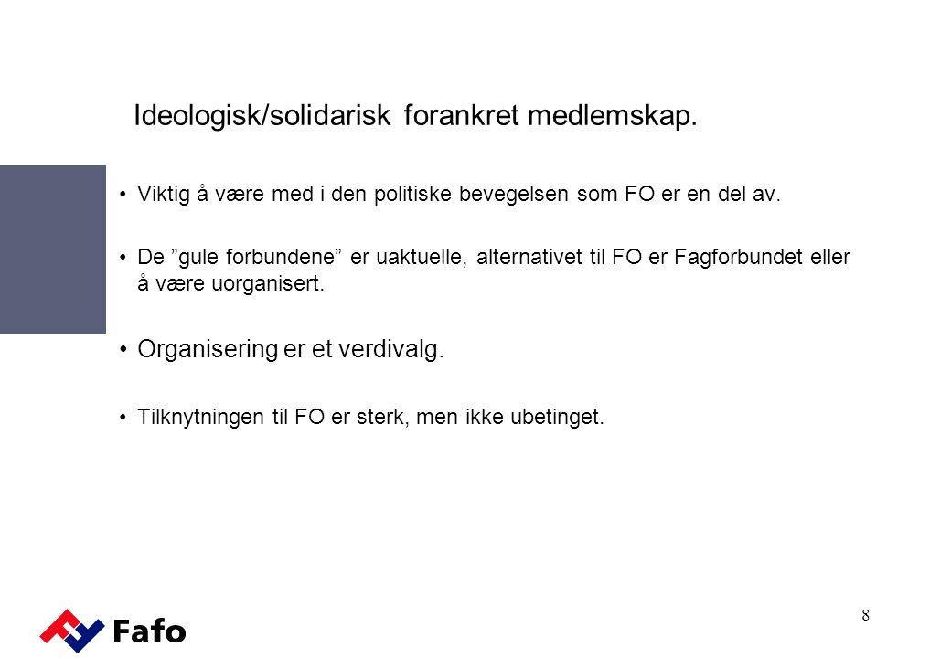 Ideologisk/solidarisk forankret medlemskap.