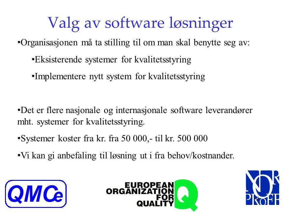 Valg av software løsninger