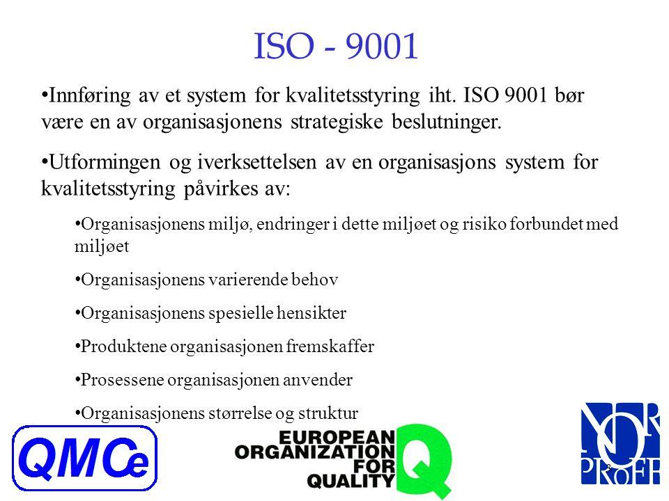 ISO - 9001 Innføring av et system for kvalitetsstyring iht. ISO 9001 bør være en av organisasjonens strategiske beslutninger.