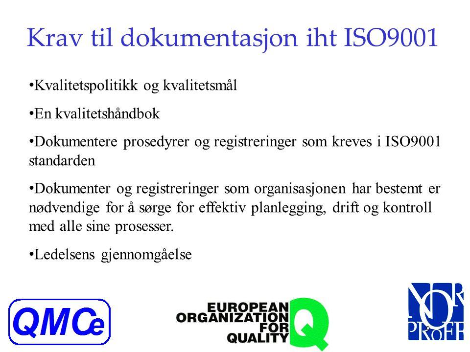 Krav til dokumentasjon iht ISO9001