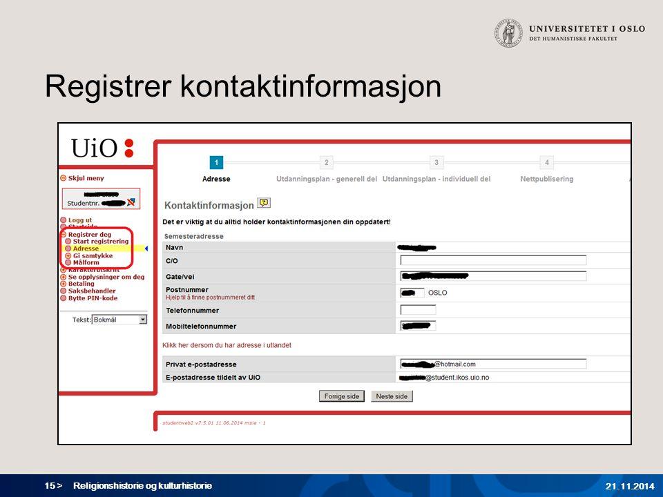 Registrer kontaktinformasjon