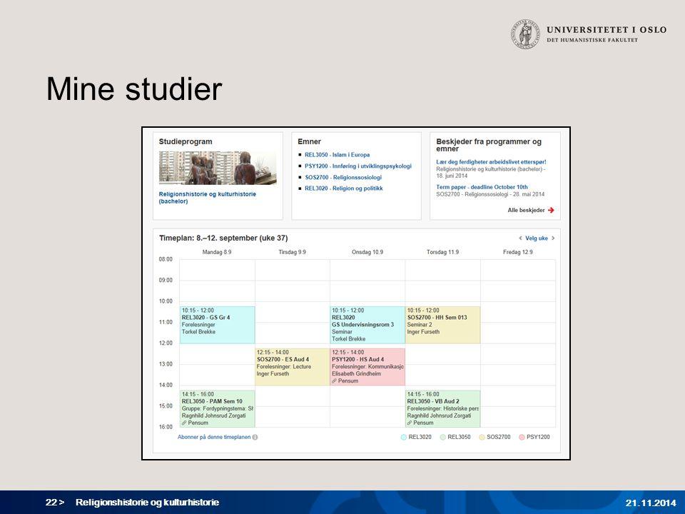 Mine studier Religionshistorie og kulturhistorie 07.04.2017