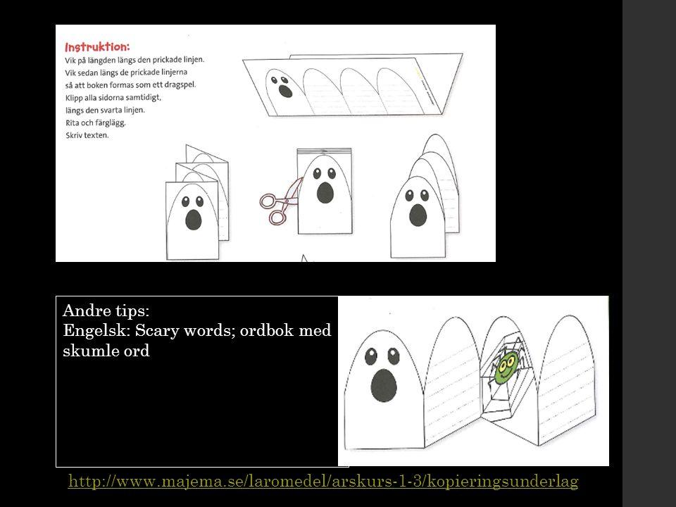 Andre tips: Engelsk: Scary words; ordbok med skumle ord