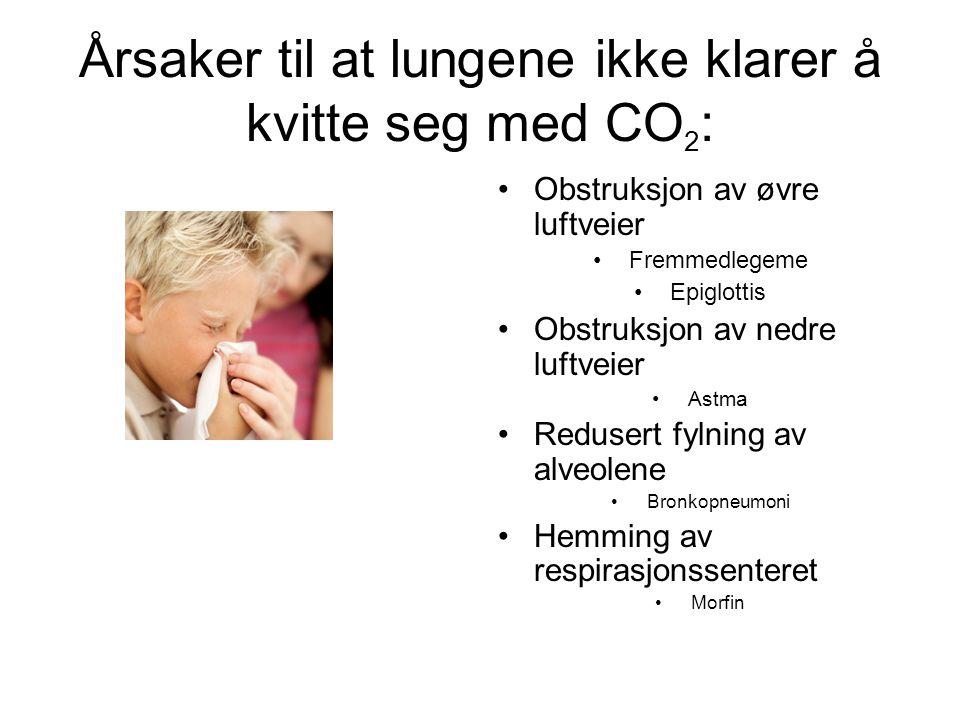 Årsaker til at lungene ikke klarer å kvitte seg med CO2: