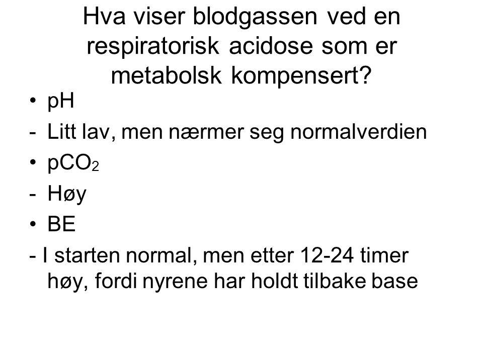 Hva viser blodgassen ved en respiratorisk acidose som er metabolsk kompensert