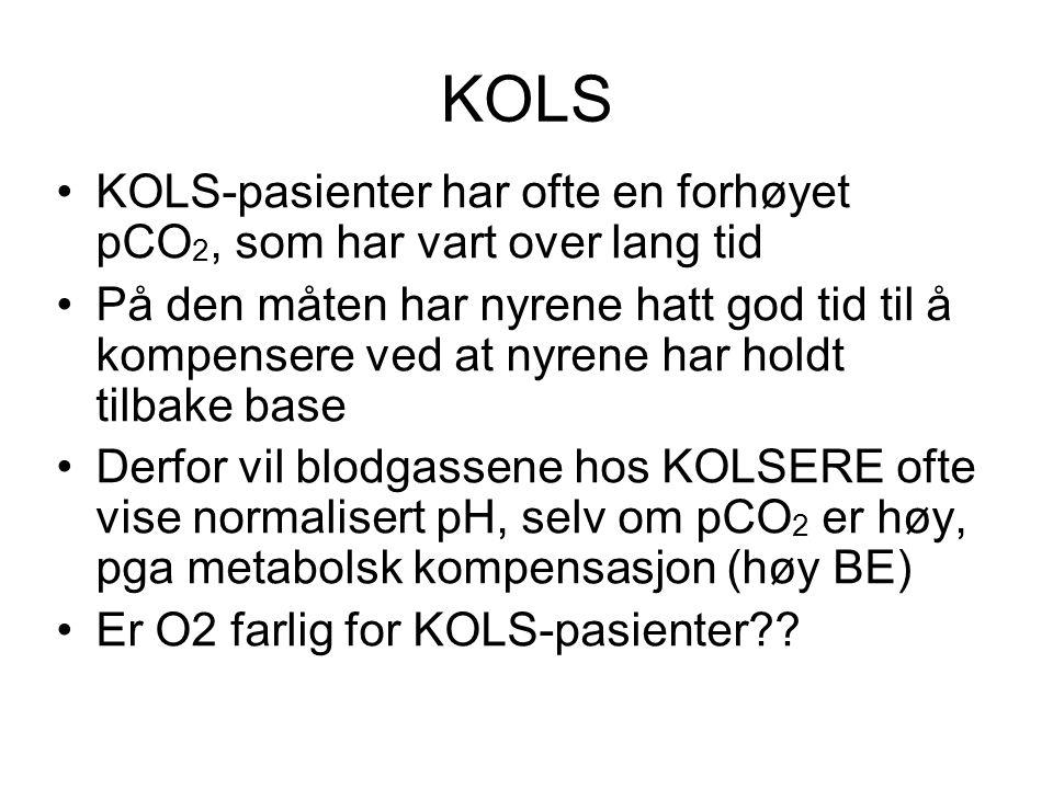 KOLS KOLS-pasienter har ofte en forhøyet pCO2, som har vart over lang tid.