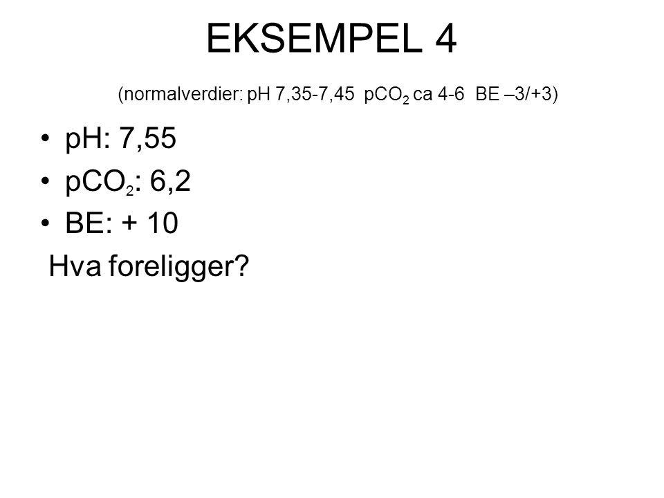 EKSEMPEL 4 (normalverdier: pH 7,35-7,45 pCO2 ca 4-6 BE –3/+3)