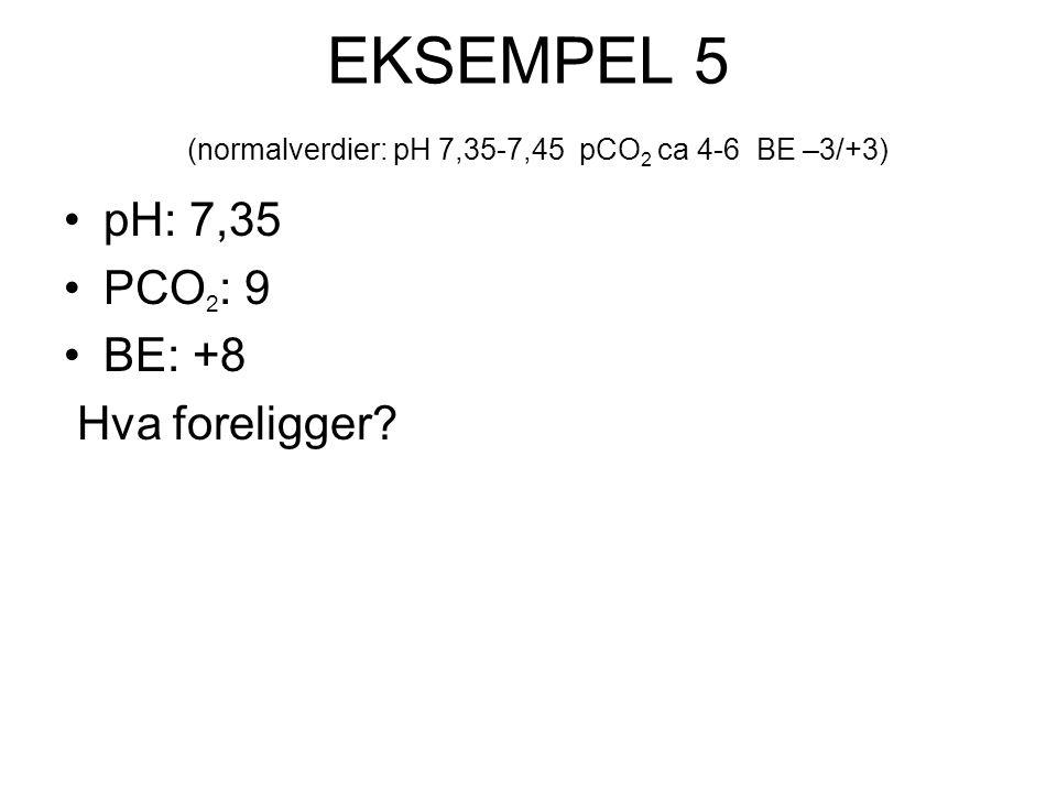 EKSEMPEL 5 (normalverdier: pH 7,35-7,45 pCO2 ca 4-6 BE –3/+3)
