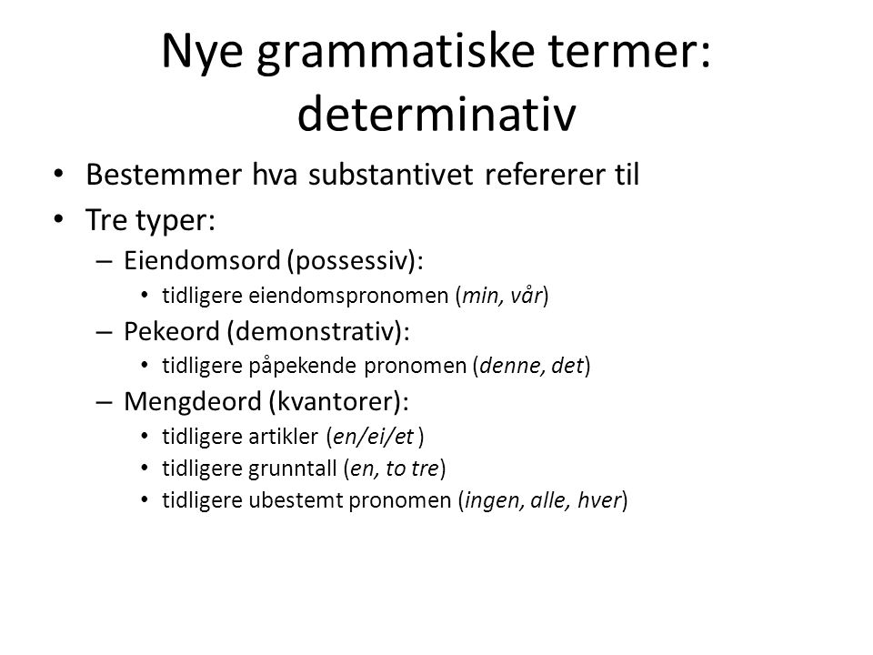 Nye grammatiske termer: determinativ