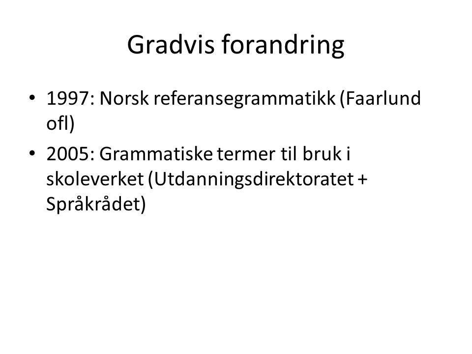 Gradvis forandring 1997: Norsk referansegrammatikk (Faarlund ofl)