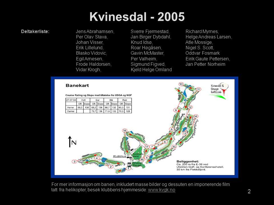 Kvinesdal - 2005 Deltakerliste: Jens Abrahamsen, Sverre Fjermestad, Richard Myrnes,