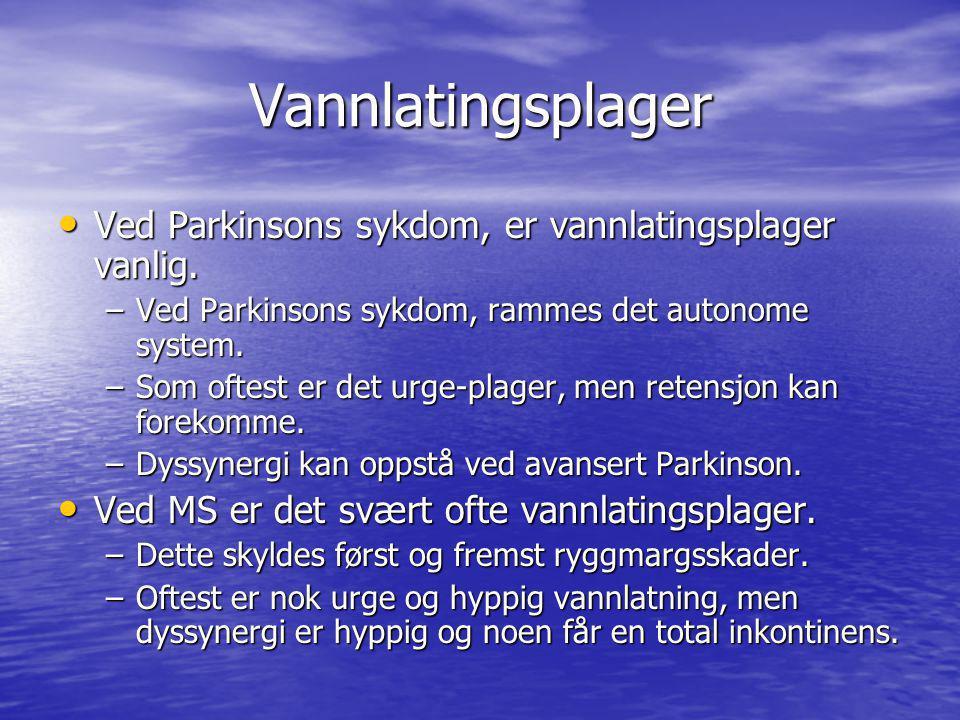 Vannlatingsplager Ved Parkinsons sykdom, er vannlatingsplager vanlig.
