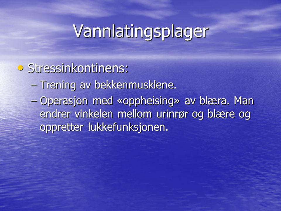 Vannlatingsplager Stressinkontinens: Trening av bekkenmusklene.