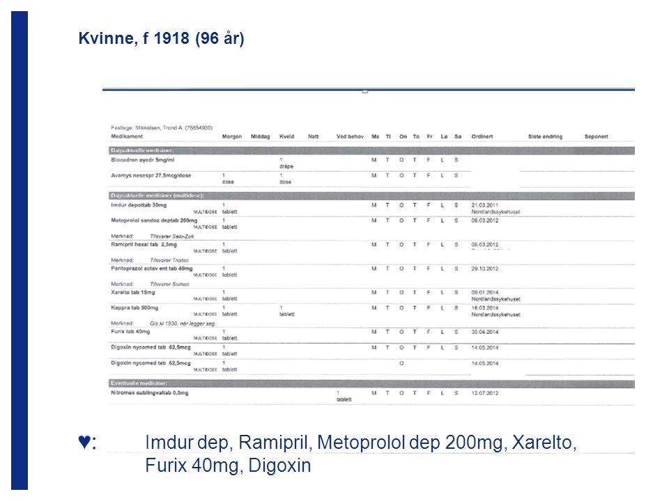 ♥: Imdur dep, Ramipril, Metoprolol dep 200mg, Xarelto,