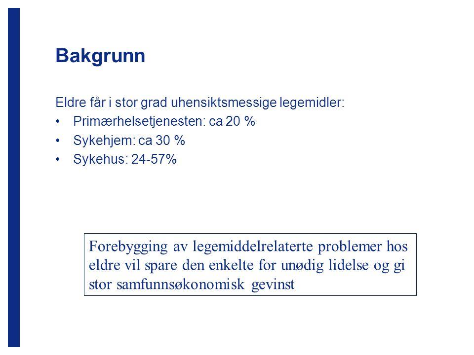 Bakgrunn Eldre får i stor grad uhensiktsmessige legemidler: Primærhelsetjenesten: ca 20 % Sykehjem: ca 30 %