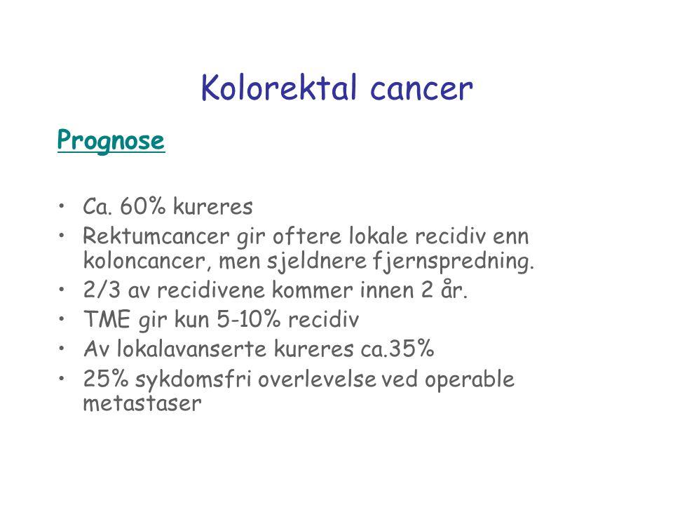 Kolorektal cancer Prognose Ca. 60% kureres