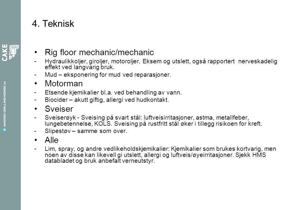 4. Teknisk Rig floor mechanic/mechanic Motorman Sveiser Alle