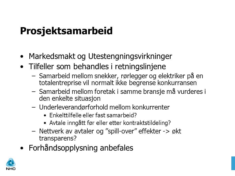 Prosjektsamarbeid Markedsmakt og Utestengningsvirkninger