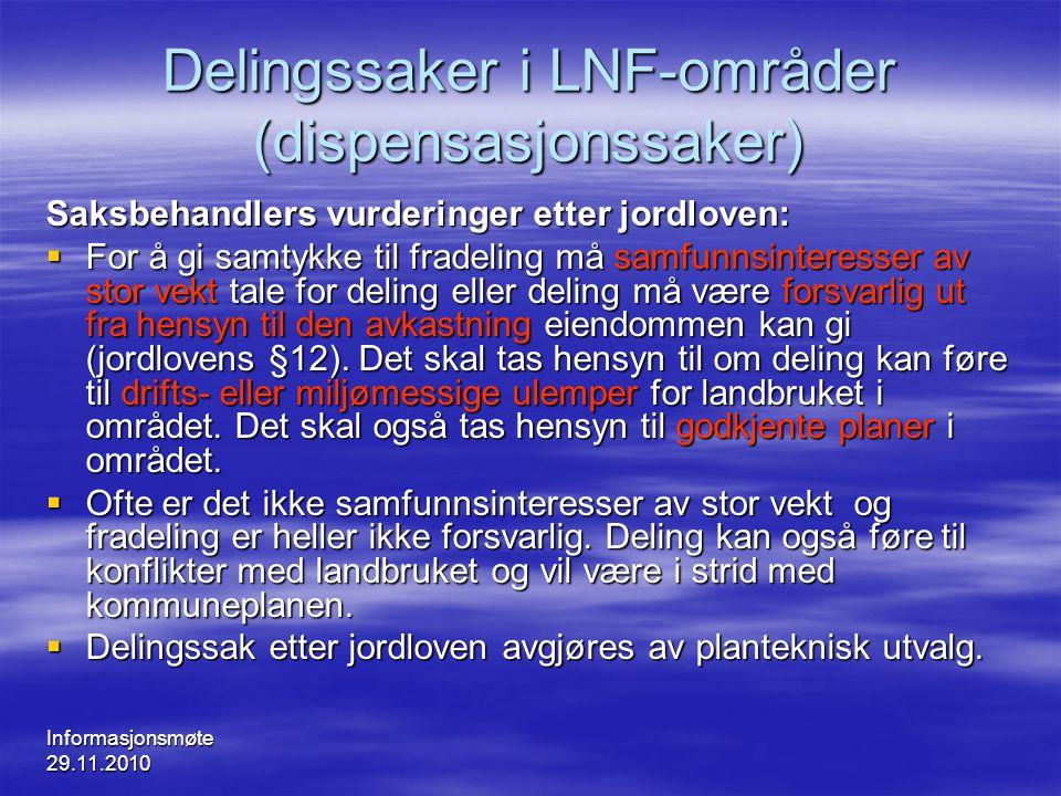 Delingssaker i LNF-områder (dispensasjonssaker)