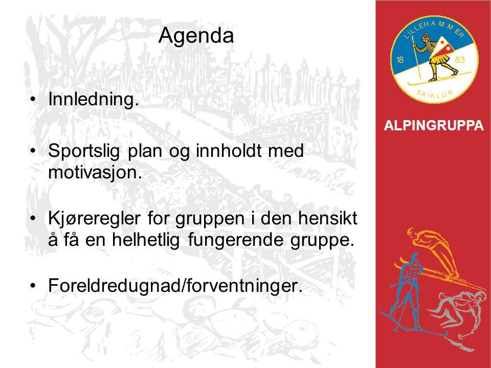 Agenda Innledning. Sportslig plan og innholdt med motivasjon.