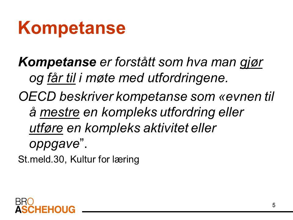 Kompetanse Kompetanse er forstått som hva man gjør og får til i møte med utfordringene.
