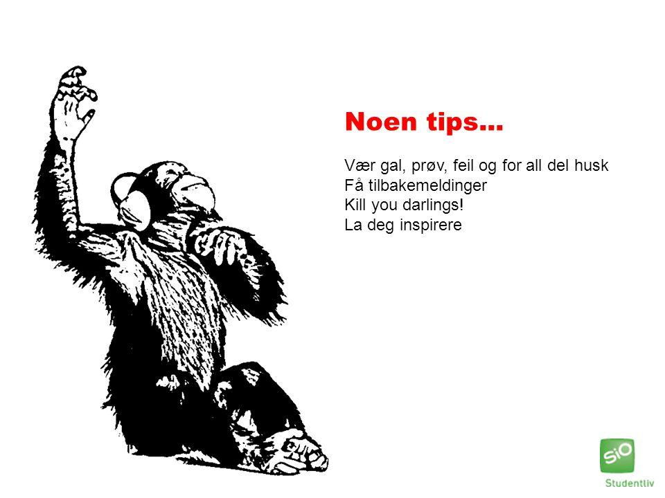 Noen tips... Vær gal, prøv, feil og for all del husk