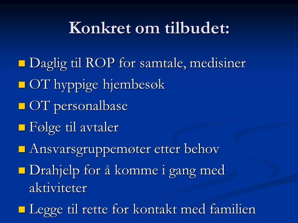 Konkret om tilbudet: Daglig til ROP for samtale, medisiner
