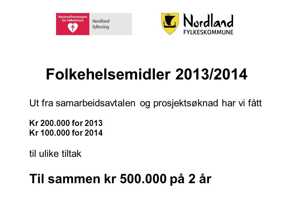 Folkehelsemidler 2013/2014 Til sammen kr 500.000 på 2 år