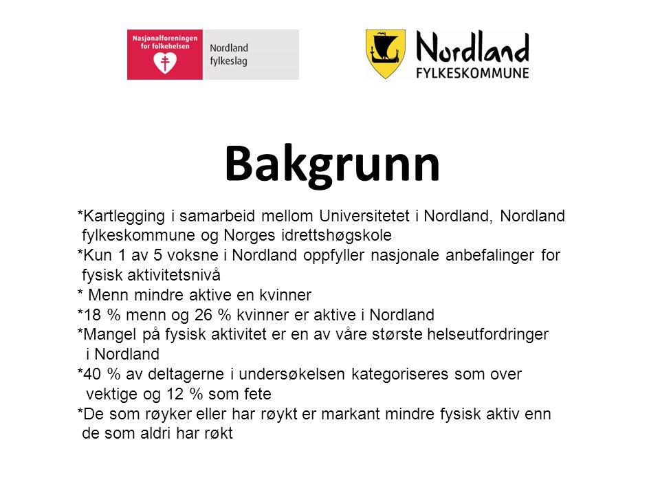 Bakgrunn *Kartlegging i samarbeid mellom Universitetet i Nordland, Nordland. fylkeskommune og Norges idrettshøgskole.
