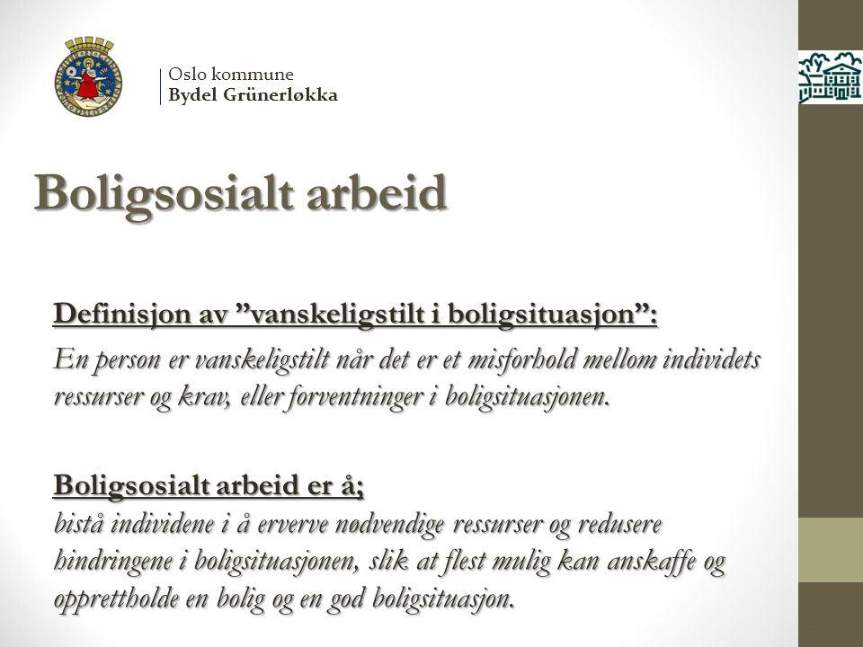 Boligsosialt arbeid Definisjon av vanskeligstilt i boligsituasjon :