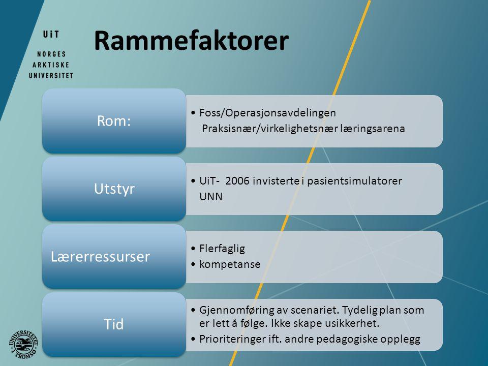 Rammefaktorer Rom: Utstyr Lærerressurser Tid Foss/Operasjonsavdelingen