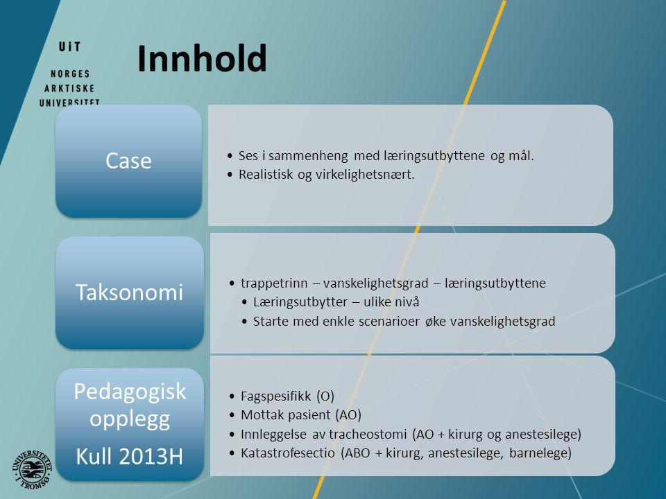Innhold Case Taksonomi Pedagogisk opplegg Kull 2013H