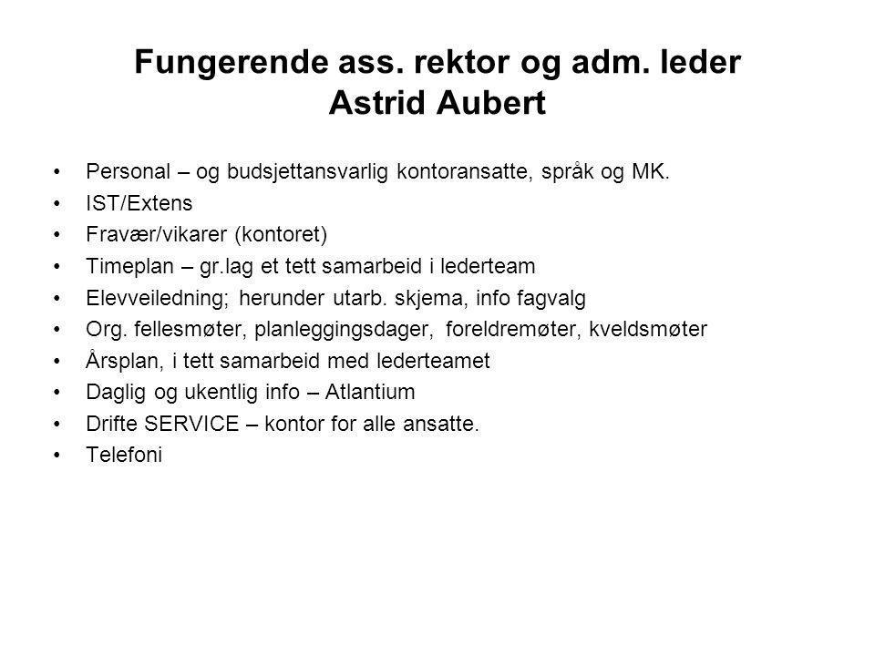 Fungerende ass. rektor og adm. leder Astrid Aubert