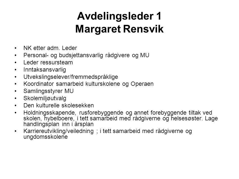 Avdelingsleder 1 Margaret Rensvik