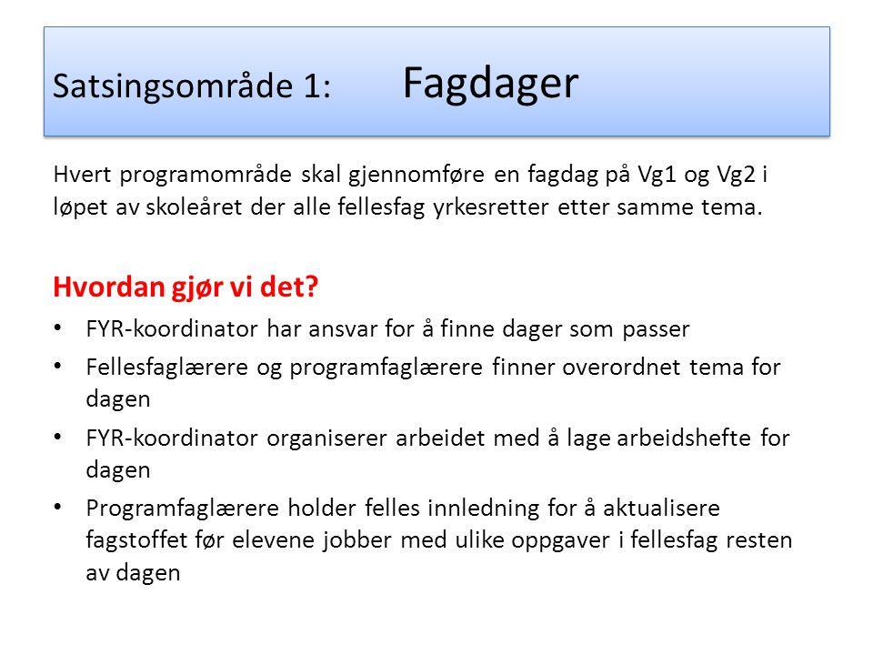 Satsingsområde 1: Fagdager