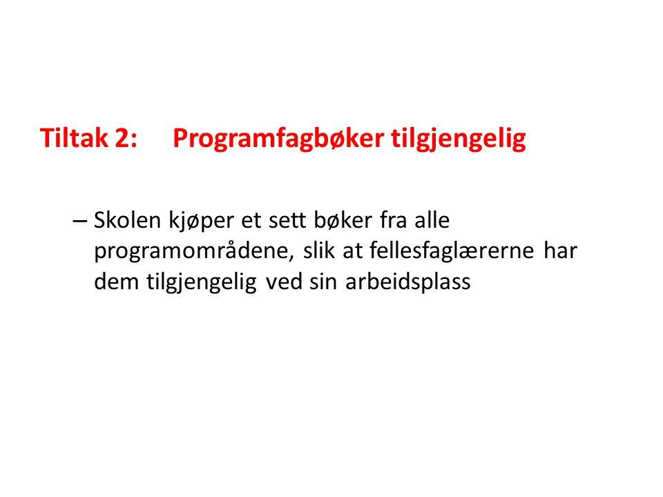 Tiltak 2: Programfagbøker tilgjengelig