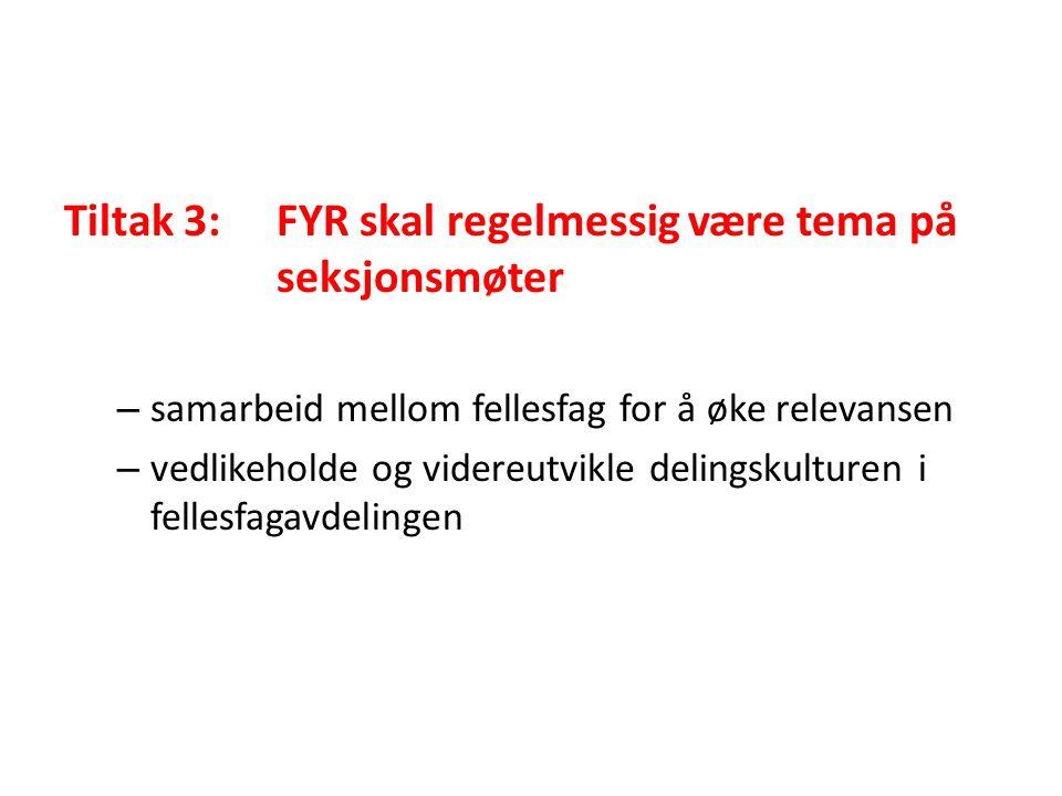 Tiltak 3: FYR skal regelmessig være tema på seksjonsmøter