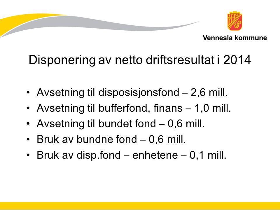 Disponering av netto driftsresultat i 2014